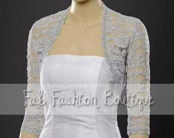 Light Grey 3/4 sleeved lace bolero jacket shrug Size S-XL, 2XL-5XL