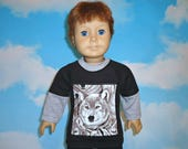 Wolf tee shirt 18 inch boy doll clothes american made girl long sleeves layered look trendy wolves black grey taupe
