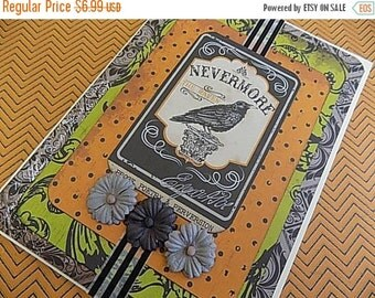 Halloween Embellished Card - Nevermore - Blank Greeting - Orange Black Green