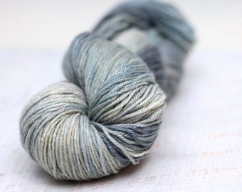 Hand Dyed Yarn, Yak Silk, Sky Trace, 180 yards, worsted weight, blue, gray