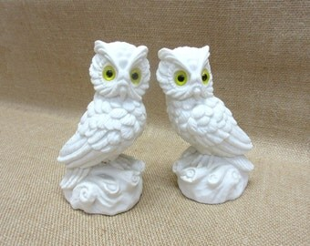 Vintage White Alabaster Horned Owl Figurines Lot of 2 Made in Italy