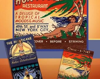 Tropical Poster Wall Art 1950s NY Hurricane Matchbook Art Tiki Wall Decor Tahiti Wall Art Bar Decor Nude Girls Wall Art Tropical Poster Gift