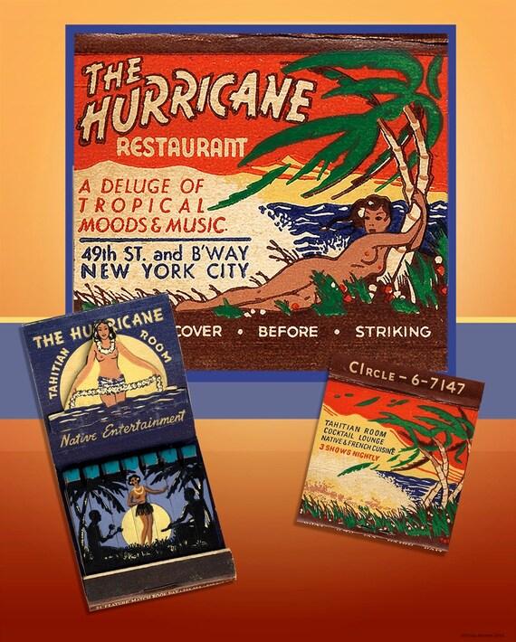 Tropical Poster Wall Art 1950s NY Hurricane Matchbook Art Tiki