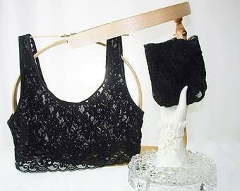 Victoria's Secret Vintage Lace Bralette and Panties Set Black New Med