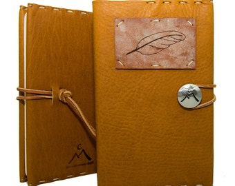 Medium Journal with Feather in Honey Ginger: Homecrafted in Aspen