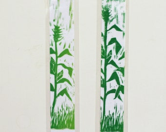 "Laminated corn stalk bookmarks 1.75"" x 8.5""  original art green farm art rural life fun unique"
