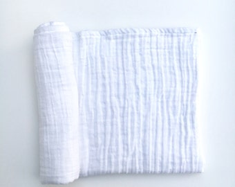 Muslin Swaddle Blanket- WHITE- whitr swaddle blanket- receiving blanket- baby blanket- cotton blanket- light weight blanket- baby wrap