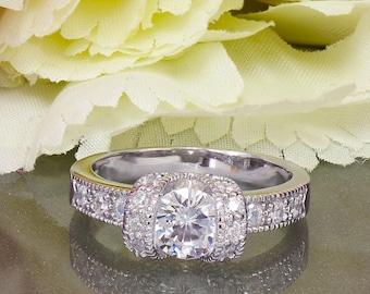 14k White Gold Round Cut Diamond Engagement Ring Halo Art Deco Antique Style, Bridal Style, Wedding, Prong,  Bridal, Anniversary, 1.20ctw