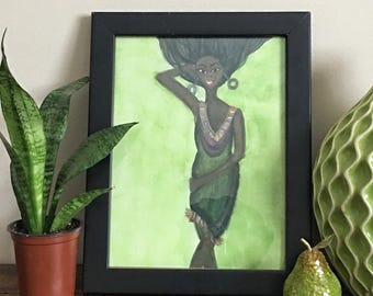 Windblown- African American Art, Fashion Illustration Wall Art, Black Woman Art, Illustration, Black Girl Magic Print by LeMahogany Art