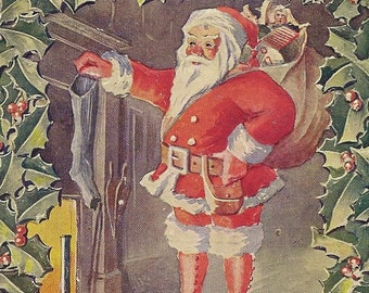 Santa Hangs Stocking By The Fire Charming Embossed Vintage Christmas Postcard
