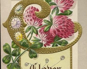 Pink Clover Representing Industry Embossed Colorful Vintage E Nash postcard 1912