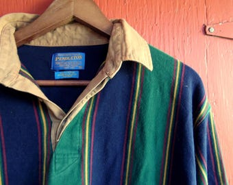 80s/90s Pendleton Rugby Bold Stripe Navy and Green Long Sleeve Preppy Pullover Shirt M/L