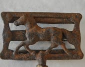 Vintage Metal Horse Brush with Wooden Handle, Very Old