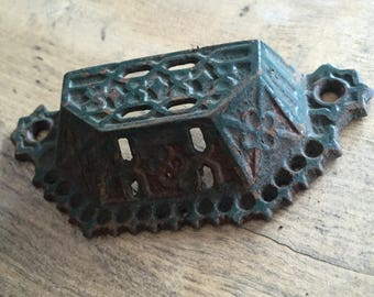19th Century Gothic Apothecary Bin Pull - Old Rusty Green Paint