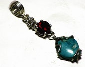 Untreated Turquoise Pendant, Red Garnet Necklace, Sterling Silver 6.3 ct Solid Green Blue Southwestern Jewelry, Untreated Armenian Turquoise