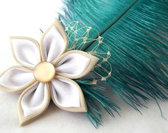 Teal Feather Plume Hair Flower Tan and White Tsumami Kanzashi Flapper Fascinator