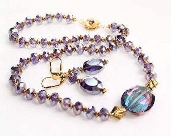 """Pretty """"Newer"""" Vintage Amethyst Aurora Borealis Faceted Bead Necklace and Pierced Earring Set"""