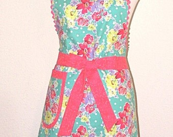 Apron Handmade Ladies Cooking & Baking Retro Bib Style Apron Floral Size Med. Ready to Ship