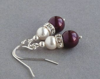 Plum Pearl Drop Earrings - Eggplant Bridal Party Gifts - Aubergine and White Wedding Accessories - Plum Pearl and Crystal Bridesmaid Jewelry