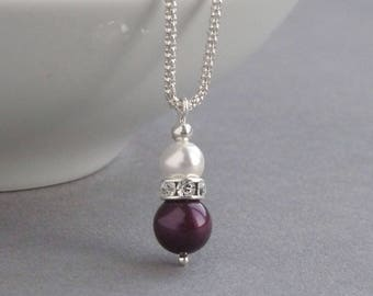 Plum Bridesmaids Necklace - Eggplant and White Pearl Pendant - Purple Bridal Party Jewellery - Aubergine Attendant Gifts - Wedding