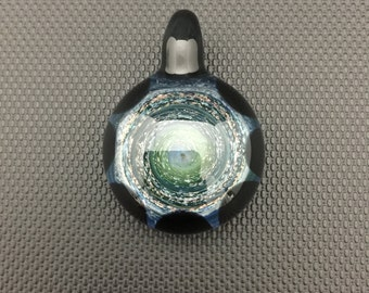 Glass Pendant // Black Dichro Flake