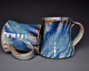 Blue Pottery Mug Ceramic Coffee Mug Stoneware Mug Blue Stripe