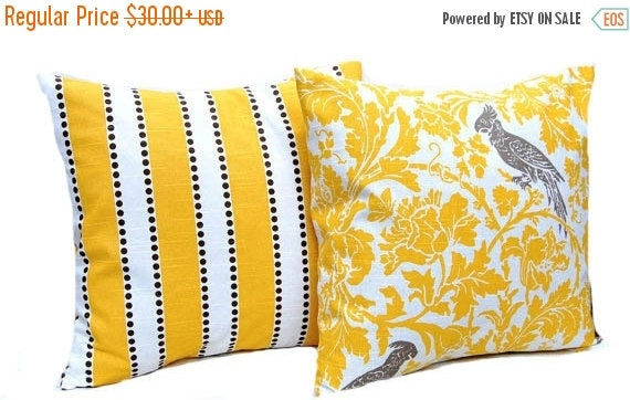 30% Off Sale Yellow Pillow Covers - Decorative Pillow Covers - Floral Bird and Stripe - Yellow Cushion Covers - Yellow and Taupe - Stripe Pi