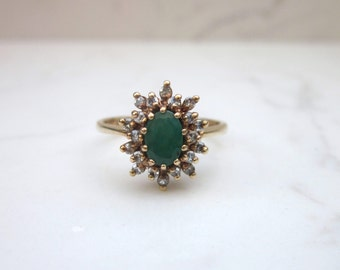 Vintage Oval Cut Emerald and Diamond Double Halo Ring in 14k Solid Yellow Gold, Size 5.5 -1.05 ct total gem weight