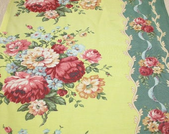 Bright and Cheerful Roses and Bouquets on Lime and Teal Green Vintage Rayon Faille Barkcloth Era Fabric - 54 x 23 Inches