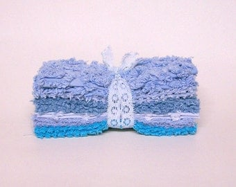 CHENILLE PATCHWORK 6 Inch SQUARES, Vintage, Baby Blues, Quilting, Craft, Toymaking