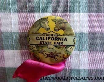 "Vintage 1940's California State Fair Souvenir  Button-  1 1/4"""