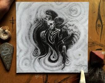 Chimbu Death Dancer /// Original Graphite Art