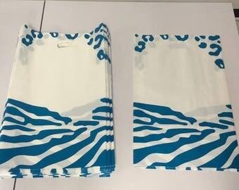 100PCS Large 21X14 Blue Leapord and Zebra Print Bags