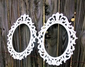 2 Vintage Metal Ornate White Picture Frames Shabby Chic Decor Cottage Decor Made in Italy