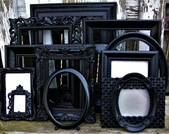 Set of 13 Glossy Black Picture Frames for Gallery Wall, Wedding Decor, Nursery Decor Shabby Chic French Chic