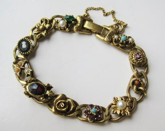 Vintage 60s Goldette Jeweled Rhinestone Gold Panel Link Charm Bracelet