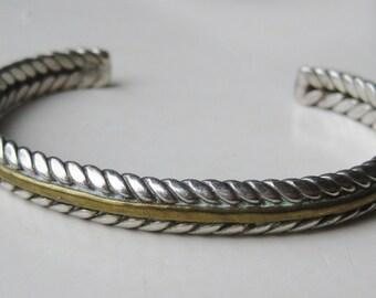 Vintage Woven Sterling Silver & Brass Modernist Cuff Bracelet
