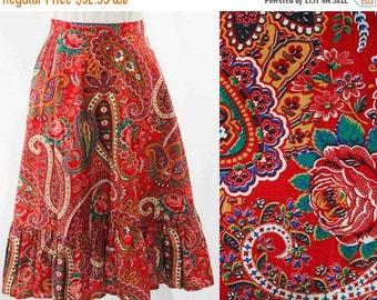 Size 8 Red Paisley Full Skirt - 1950s Inspired Prairie Girl - Vivid Print Cotton - 80s Does 50s - Summer - Boho Chic - Waist 27 - 44664