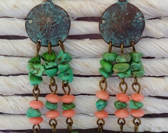 Sand dollar patina earrings with turquoise and coral beads