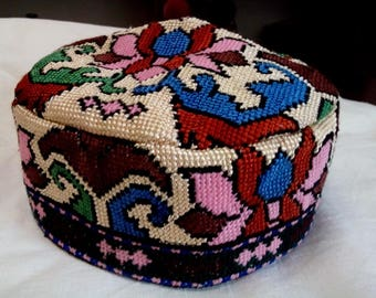 Uzbek silk hand embroidery traditional cap. Cross stitch emboidery