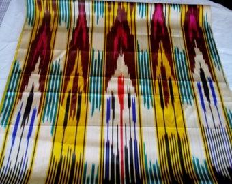 Uzbek vintage silk ikat fabric Han atlas. VI004