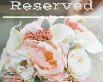 Reserved wedding order for - Robin Swint - Navy, coral & white calla rose Wedding bouquet set