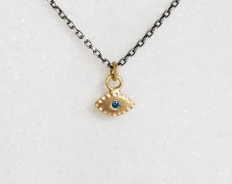 Evil Eye Necklace - Tiny Charm in Diamond and Gold - Sterling Chain - Choose 14k Gold or 18k Gold