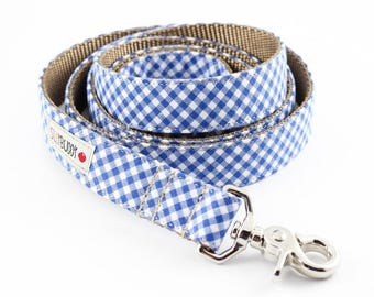Royal Blue Gingham Dog Leash