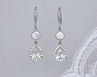 Crystal Teardrop Earrings, Crystal Bridal Earrings, Crystal Bridal Jewelry, Bridesmaids Crystal Earrings, TAMARA FH