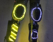 EL Wire Leg Guards - Black/yellow/purple - buring man, electric daisy carnival, wasteland - Please read description for SIZES