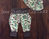Ready to ship Equilateral Grow with me harem pants - bandana bib - Babywearing accessories