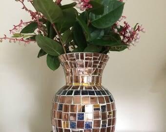 Copper Tiles and Blue Van Gogh Glass Handmade Vase