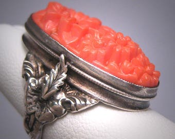 Antique Art Nouveau Coral Ring Vintage Silver Victorian Czech c.1900
