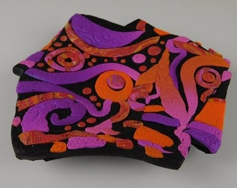 Mosaic Dish in Purple, Pink, Orange and Black Textured Polymer Clay